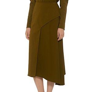 Tibi Twill Draped Skirt - Loden Green